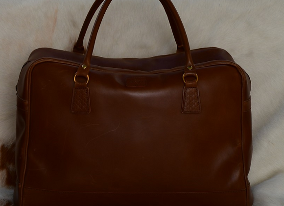 brown leather carrier bag