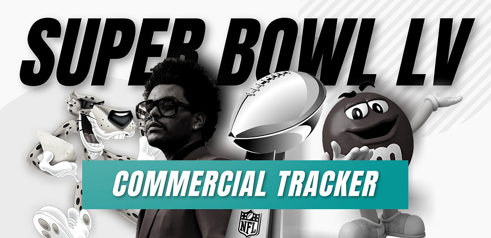 Super Bowl graphic showing The Weeknd and a few brand characters from commercials.