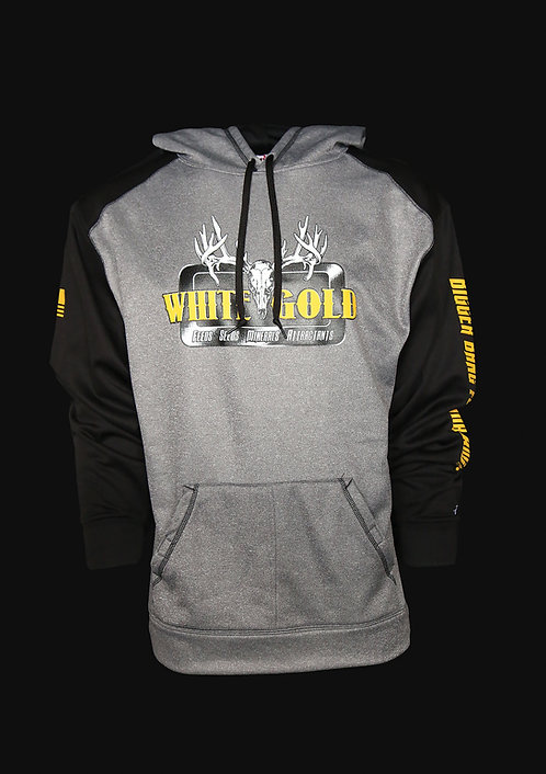 White Gold Grey 100% Poly Hooded Sweatshirt