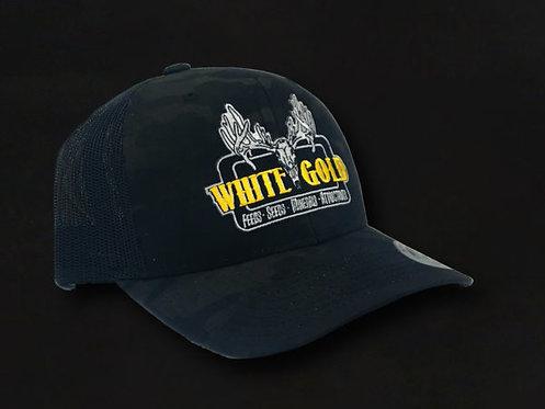 White Gold Black Multicam Trucker Hat