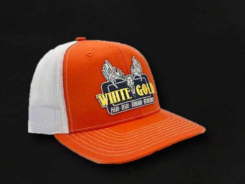 White Gold Orange & White Trucker Hat
