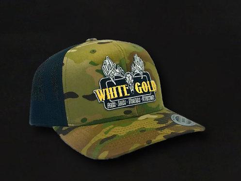 White Gold Multicam Flat Bill Trucker Hat