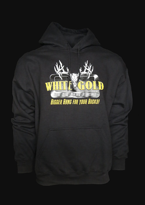 White Gold Black 50-50 Blend Hooded Sweatshirt
