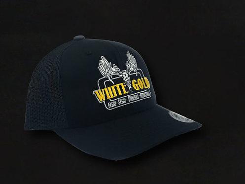 White Gold All Black Trucker Hat