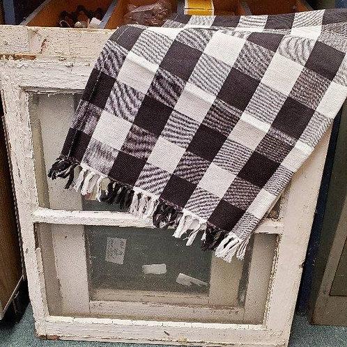 New - 100% cotton b&w checkered fringe runner