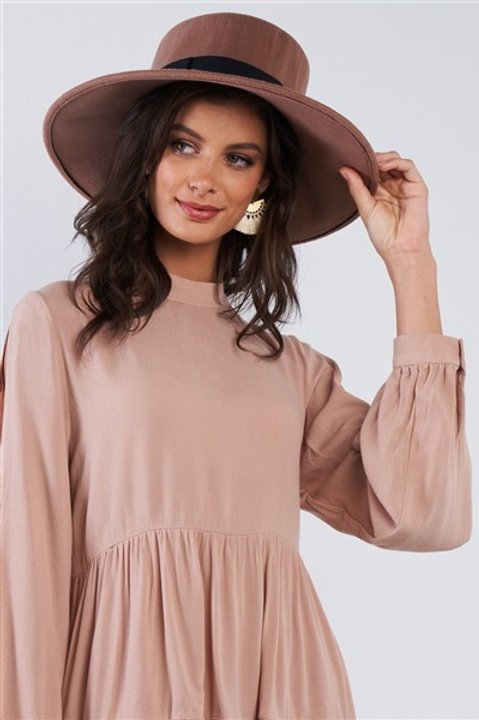 Khaki Felt Wide Brim Hat