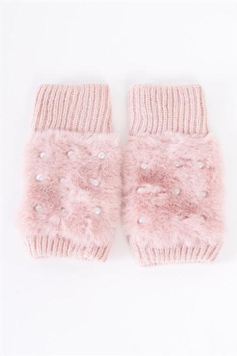 Knit Furry Fingerless Pearl Detail Winter Gloves