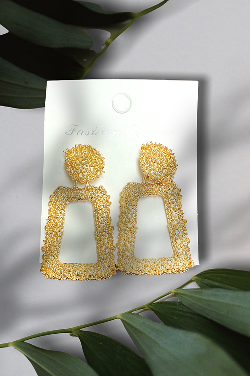 Gold Textured Trapezoid Drop Earrings