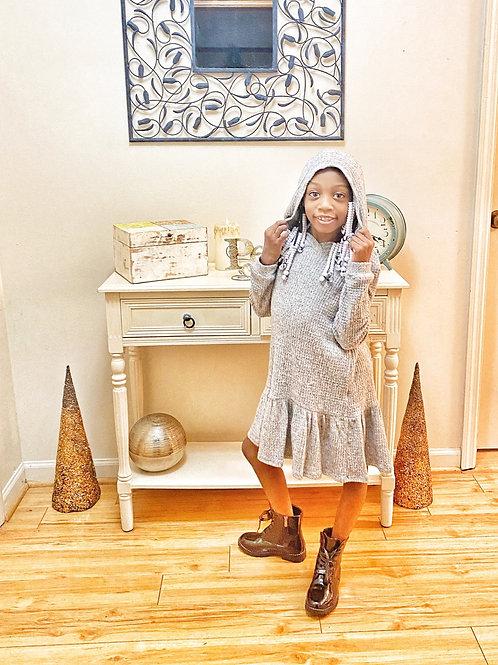 Girls Heather Grey Ribbed Soft Knit Sweater Dress