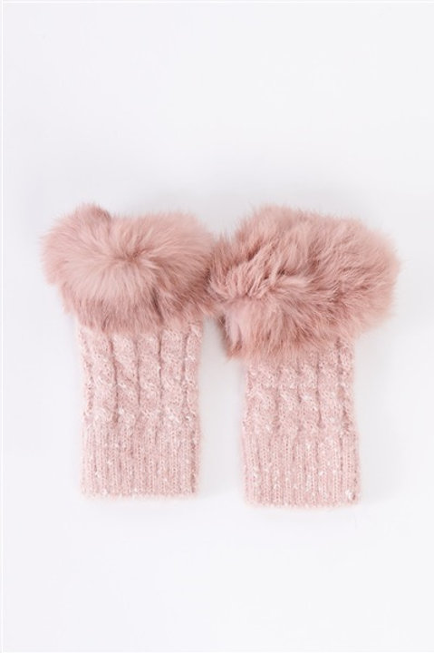 Woven Furry Fingerless Two-Way Winter Gloves