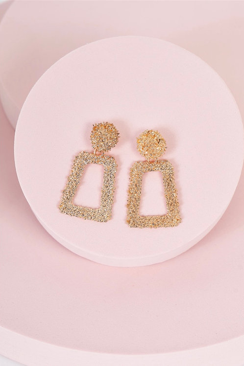 Rose Gold Textured Trapezoid Drop Earrings