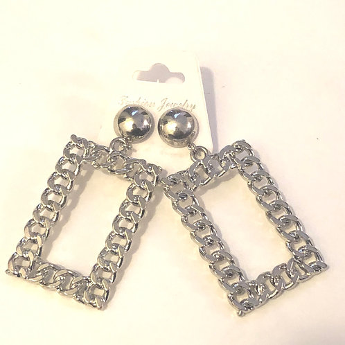 Sliver Chain Square Earrings