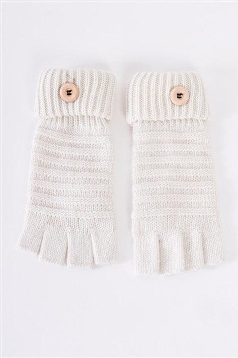 Fingerless Button Detail Knit Gloves