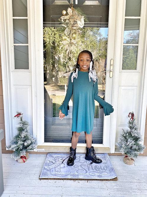 Green Ribbed Long Sleeve Sweater Dress
