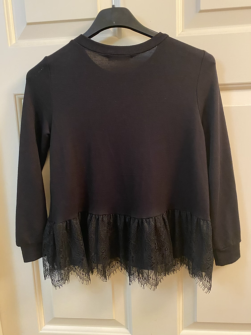 Girls Black Knit Long Sleeve Lace Hem Sweater
