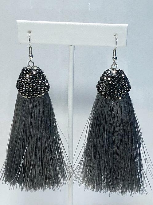 Dazzling Grey Tassel Earrings