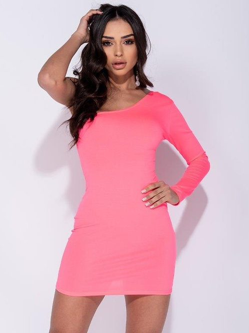 One Shoulder Long Sleeve Bodycon Mini Dress