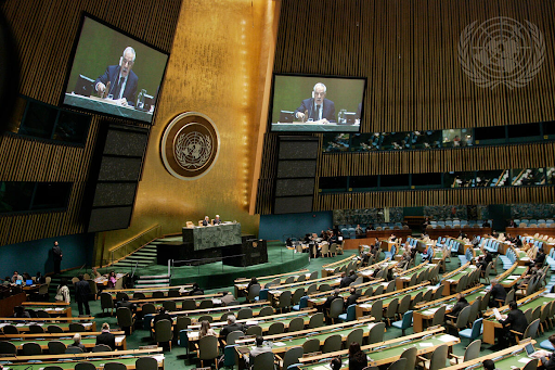 Here add in the following information (and delete this from the box)  The UN General Assembly meets to discuss fostering a culture of peace. UN Photo