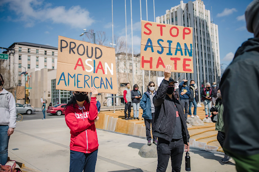 A group of people protesting in support of Asian lives following the shooting in Atlanta, Georgia https://unsplash.com/photos/bR5HesPecoE Jason Leung