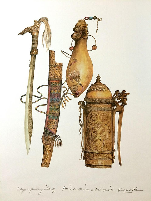 Tribal Artifacts of Borneo (Series of 6) : 3.Borneo Tribal Sword, Darts Quiver a