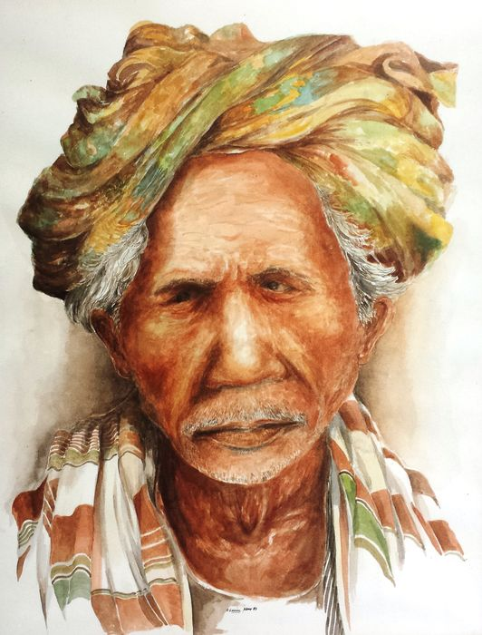 old malay man painting