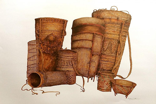 Tribal Artifacts of Borneo : 4.Borneo Tribal Baskets B