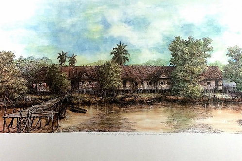 Traditional Sarawak House: 2.Iban Long house by Rejang River