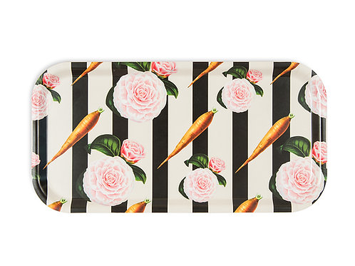 Carrots and roses birch wood serving tray
