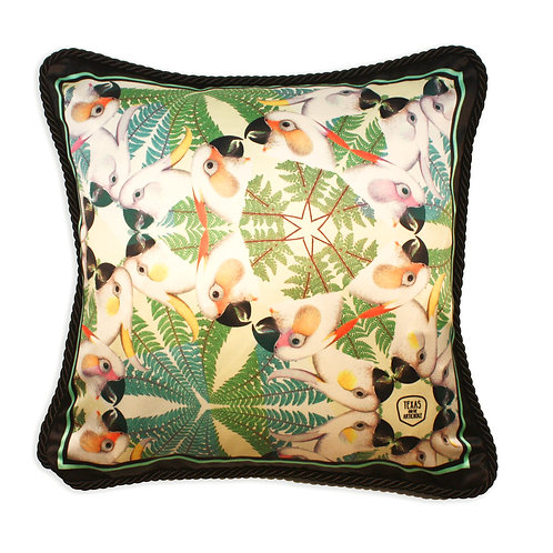 Iguazu navy silk and velvet cushion