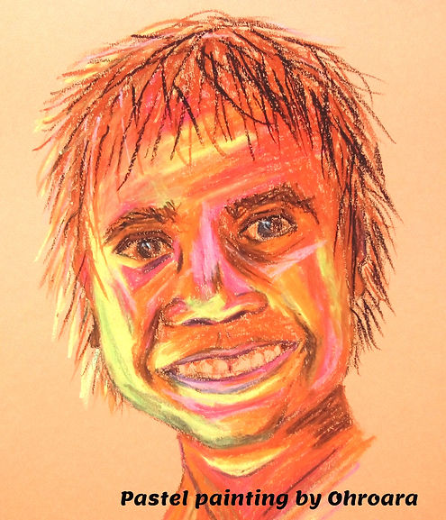 Happy Aboriginal Boy pastel painting by