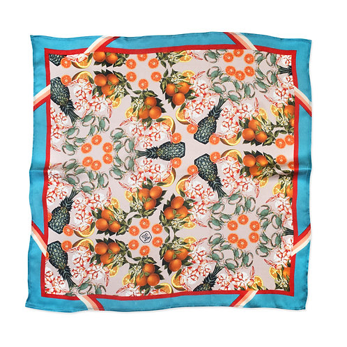 THE DINNER PARTY COLLECTION - PINEAPPLE & PRAWNS SILK SCARF from