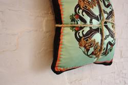 Designer cushion in silk and velvet