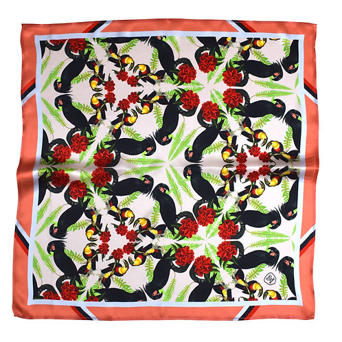 BLACK COCKATOOS CORAL SILK SCARF from