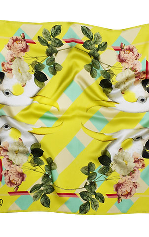 PARROTS & ROSES SILK SCARF from