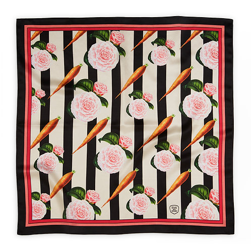 Carrots and roses silk scarf front view