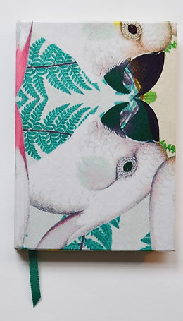 PARROTS AQUAMARINE BIG PATTERN SILK NOTEBOOK