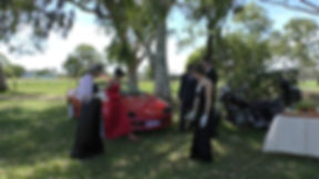 Australian actresses and actors during filming with the red camaro