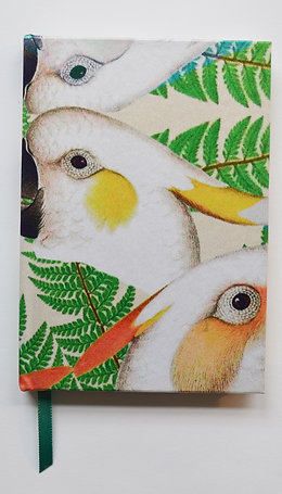 PARROTS GREEN BIG PATTERN SILK NOTEBOOK