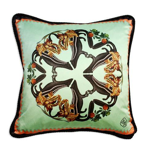 Skunks detail silk and velvet cushion