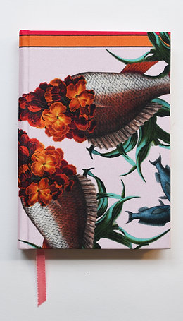 WALLFLOWER FISH ORANGE DETAIL SILK NOTEBOOK