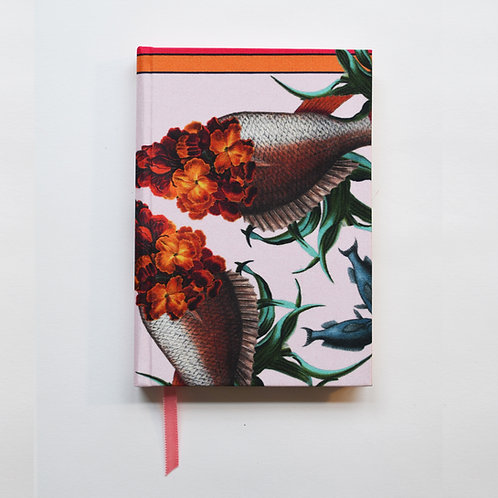 WALLFLOWER FISH ORANGE DETAIL SILK NOTEBOOK