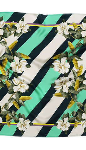 MAGNOLIA & CORN GREEN SILK SCARF from