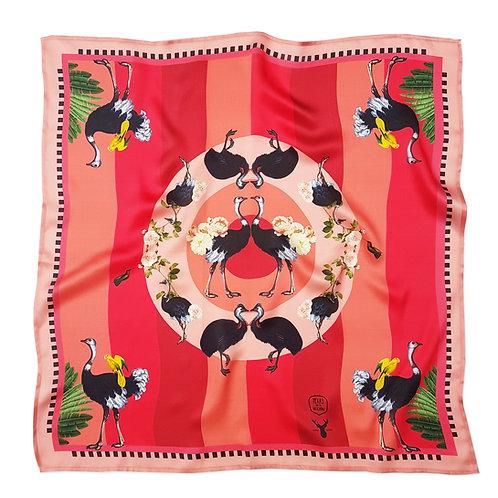Savanna Ostrich silk scarf front view