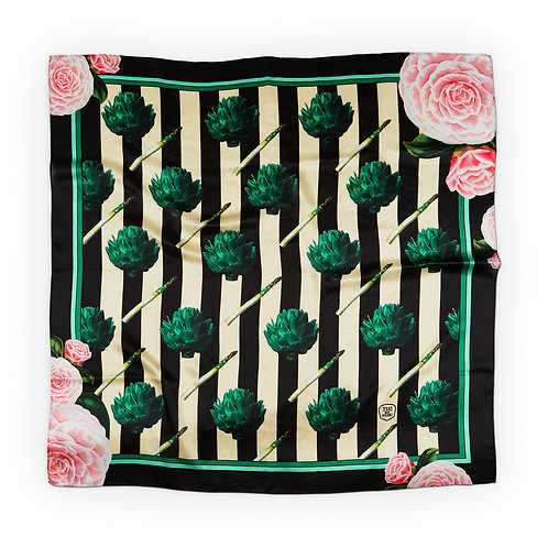 Artichokes and roses silk scarf front view
