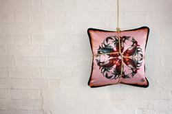 Wallflower silk and velvet cushion