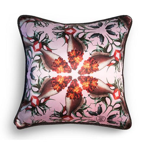Wallflower fish silk and velvet cushion