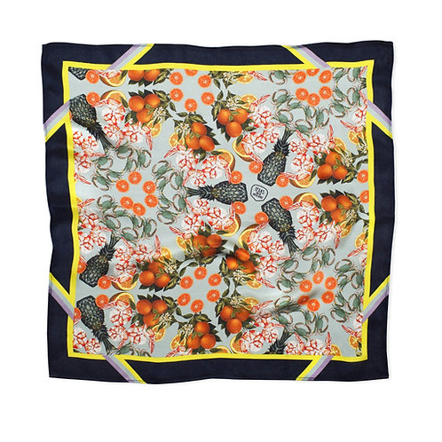 THE DINNER PARTY COLLECTION - PINEAPPLE & PRAWNS NAVY SILK SCARF from