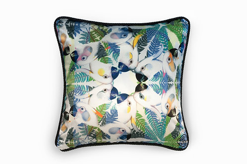Parrots silk and velvet cushion