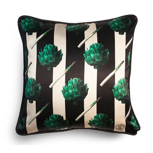 Artichokes silk and velvet cushion