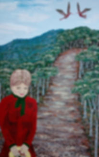 Felicity Walk painting by Ohroara Australin bush path birds lady